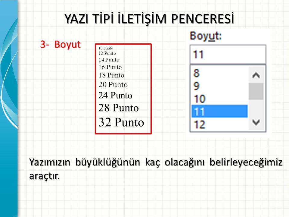 YAZI TİPİ İLETİŞİM PENCERESİ 3- Boyut Yazımızın büyüklüğünün kaç olacağını belirleyeceğimiz araçtır. 10 punto 12 Punto 14 Punto 16 Punto 18 Punto 20 P