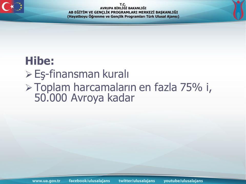 Hibe:  Eş-finansman kuralı  Toplam harcamaların en fazla 75% i, 50.000 Avroya kadar
