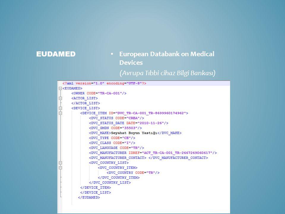 European Databank on Medical Devices (Avrupa Tıbbi cihaz Bilgi Bankası) EUDAMED