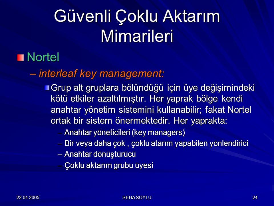 22.04.2005 SEHA SOYLU 24 Nortel –interleaf key management: Grup alt gruplara bölündüğü için üye değişimindeki kötü etkiler azaltılmıştır.