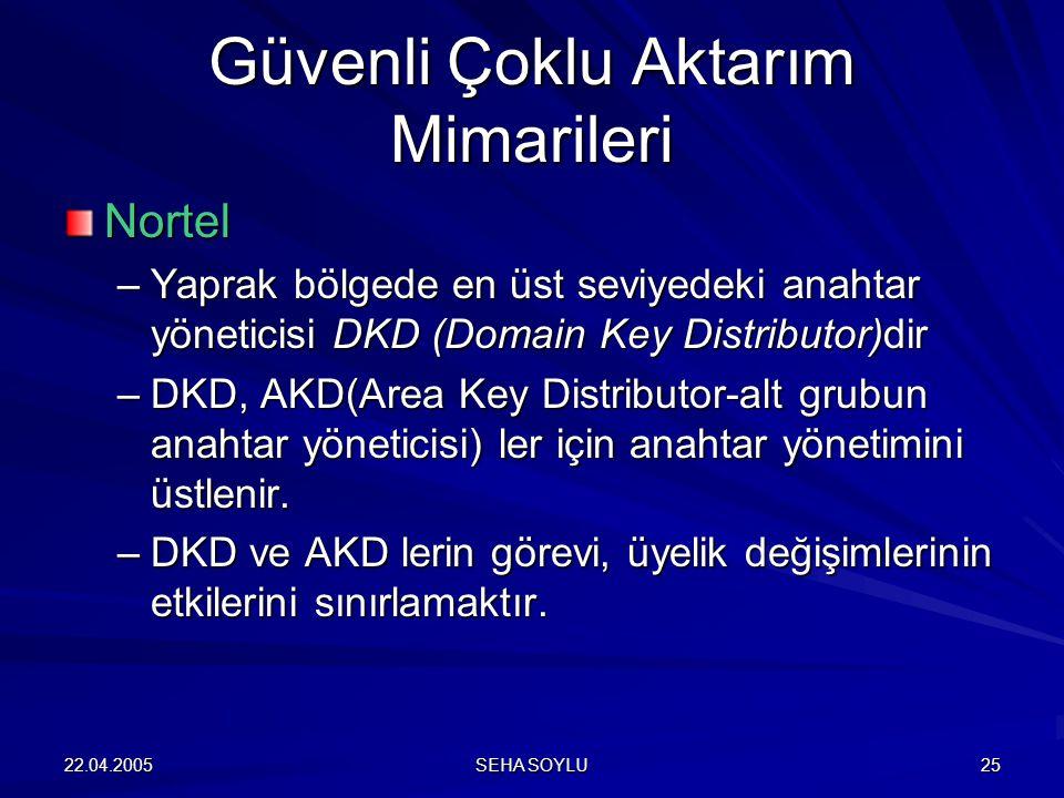 22.04.2005 SEHA SOYLU 25 Nortel –Yaprak bölgede en üst seviyedeki anahtar yöneticisi DKD (Domain Key Distributor)dir –DKD, AKD(Area Key Distributor-al