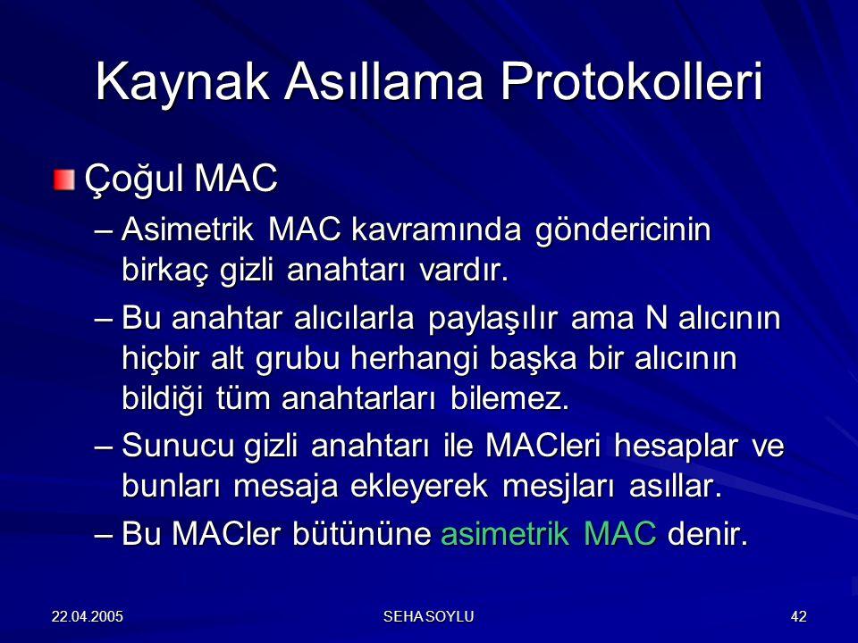 22.04.2005 SEHA SOYLU 42 Çoğul MAC –Asimetrik MAC kavramında göndericinin birkaç gizli anahtarı vardır.