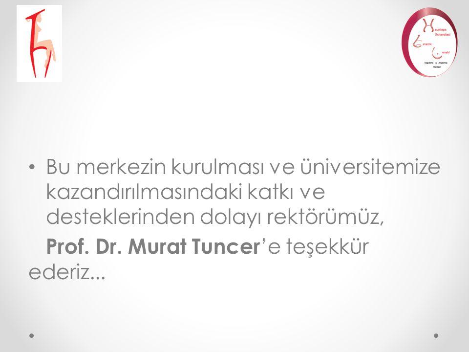 Bu merkezin kurulması ve üniversitemize kazandırılmasındaki katkı ve desteklerinden dolayı rektörümüz, Prof. Dr. Murat Tuncer 'e teşekkür ederiz...