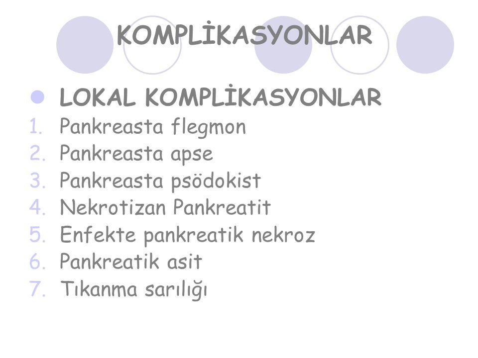 KOMPLİKASYONLAR LOKAL KOMPLİKASYONLAR 1.Pankreasta flegmon 2.Pankreasta apse 3.Pankreasta psödokist 4.Nekrotizan Pankreatit 5.Enfekte pankreatik nekroz 6.Pankreatik asit 7.Tıkanma sarılığı