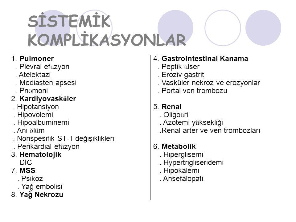 SİSTEMİK KOMPLİKASYONLAR 1.Pulmoner. Plevral ef ü zyon.