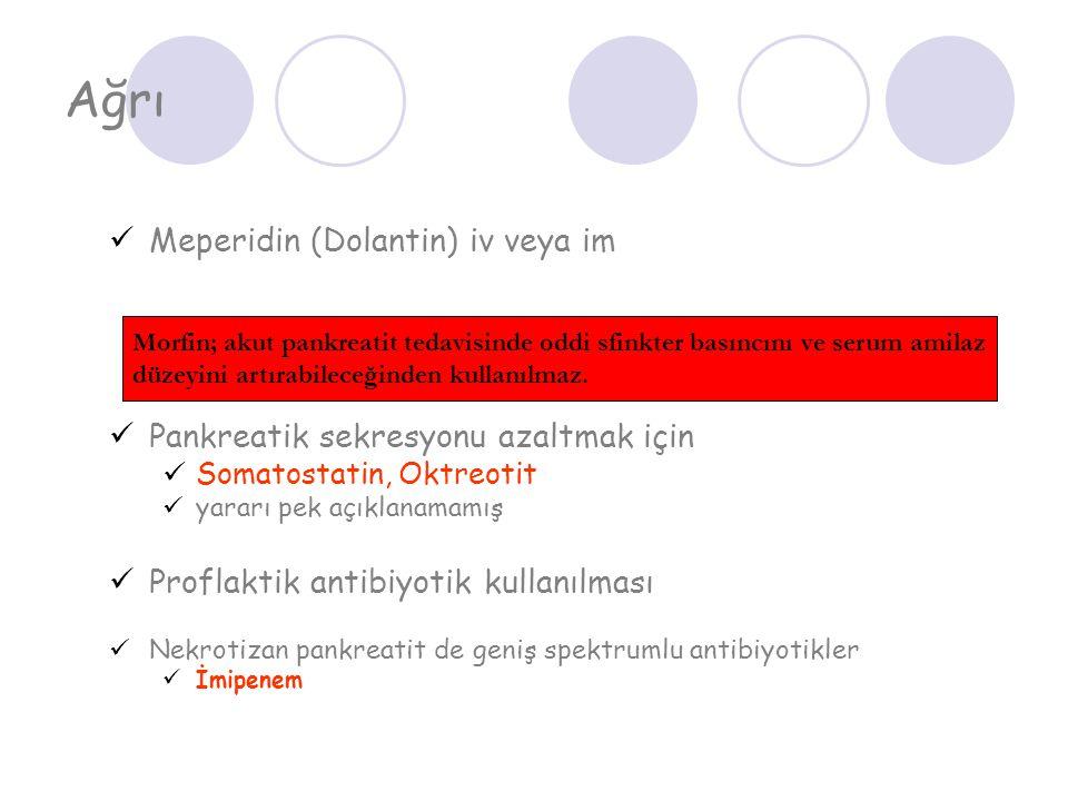 Ağrı Meperidin (Dolantin) iv veya im Pankreatik sekresyonu azaltmak için Somatostatin, Oktreotit yararı pek açıklanamamış Proflaktik antibiyotik kulla
