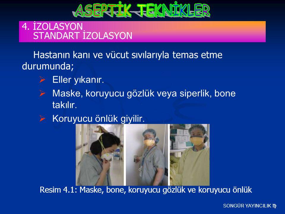 SONGÜR YAYINCILIK  Hastanın kanı ve vücut sıvılarıyla temas etme durumunda;  Eller yıkanır.  Maske, koruyucu gözlük veya siperlik, bone takılır. 