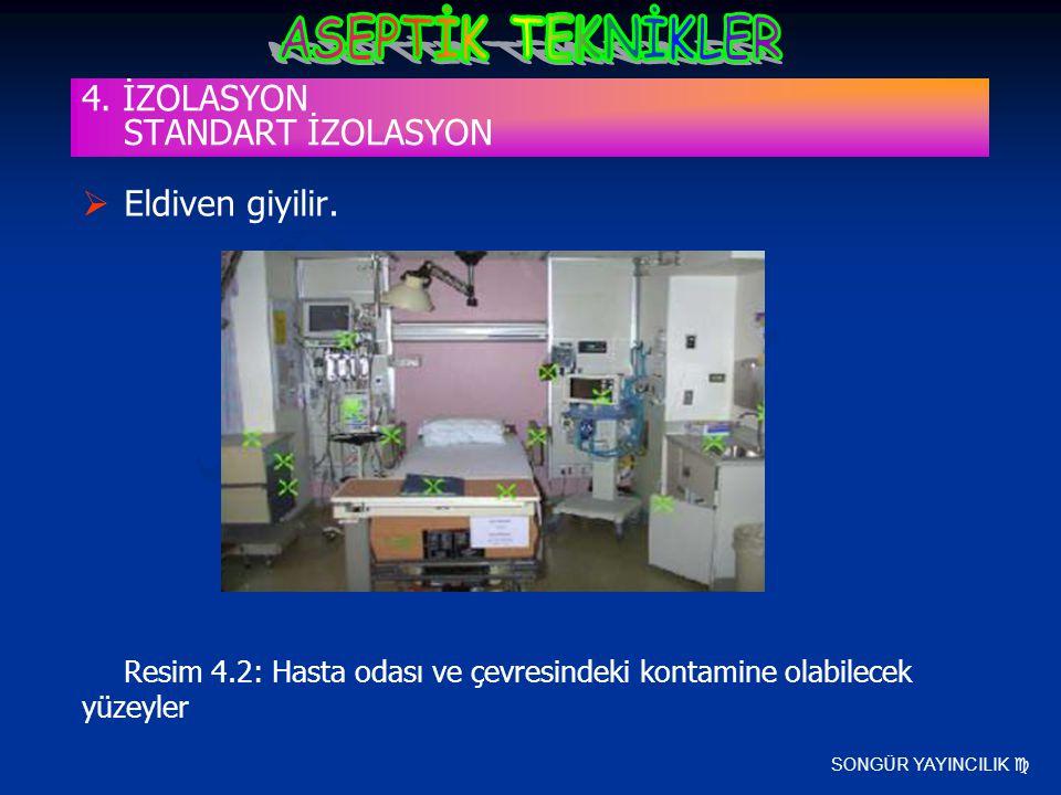 SONGÜR YAYINCILIK   Eldiven giyilir. Resim 4.2: Hasta odası ve çevresindeki kontamine olabilecek yüzeyler 4. İZOLASYON STANDART İZOLASYON