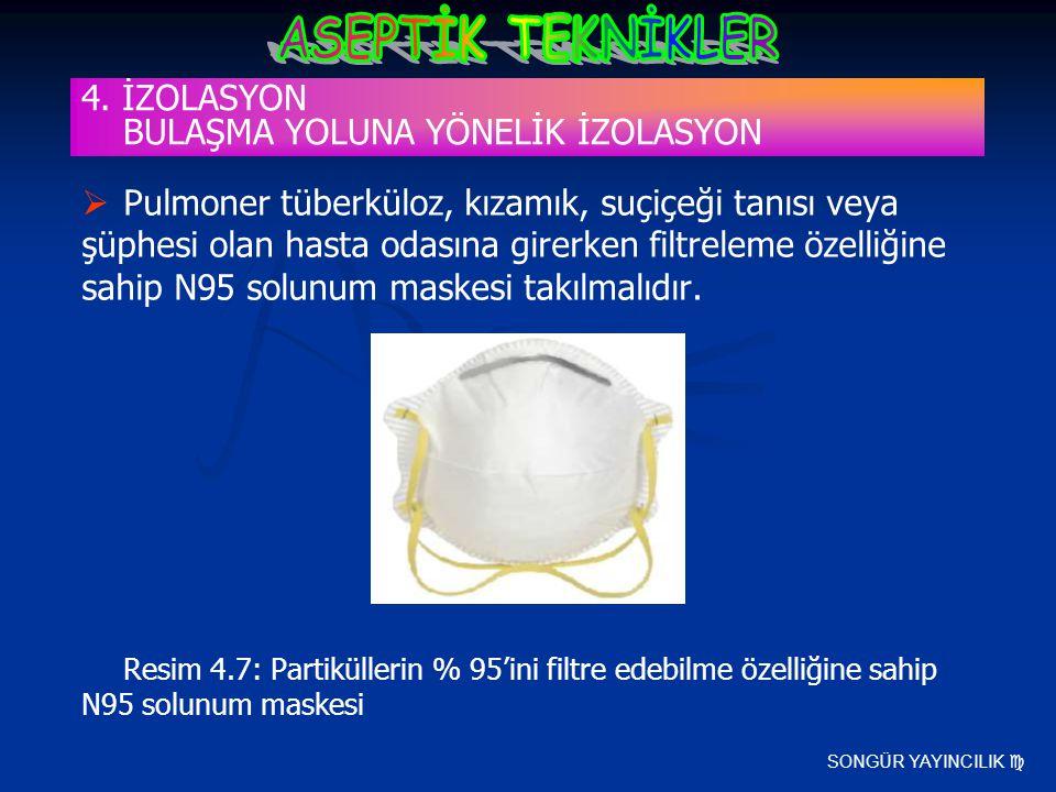 SONGÜR YAYINCILIK   Pulmoner tüberküloz, kızamık, suçiçeği tanısı veya şüphesi olan hasta odasına girerken filtreleme özelliğine sahip N95 solunum m
