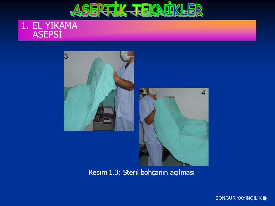 SONGÜR YAYINCILIK  Resim 1.3: Steril bohçanın açılması 1.EL YIKAMA ASEPSİ