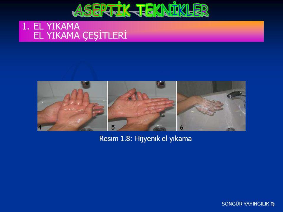 SONGÜR YAYINCILIK  Resim 1.8: Hijyenik el yıkama 1.EL YIKAMA EL YIKAMA ÇEŞİTLERİ