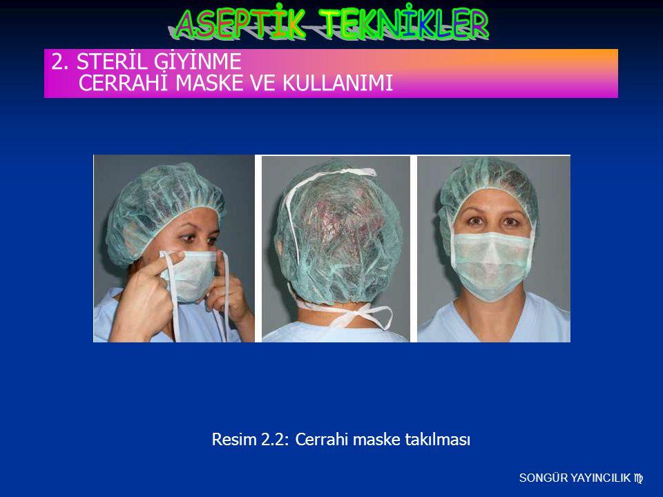 SONGÜR YAYINCILIK  Resim 2.2: Cerrahi maske takılması 2. STERİL GİYİNME CERRAHİ MASKE VE KULLANIMI