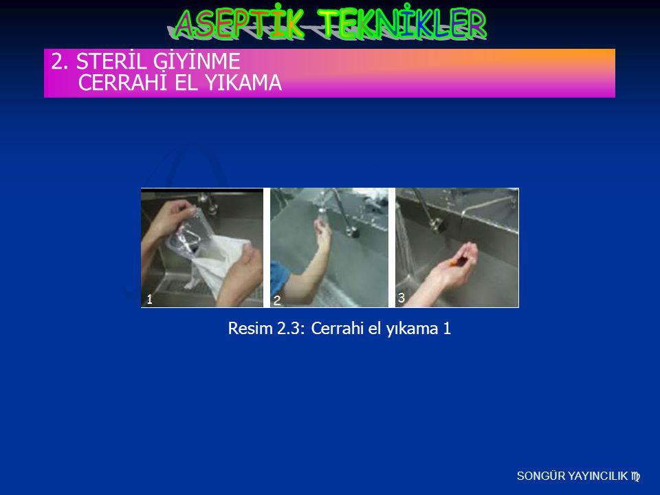 SONGÜR YAYINCILIK  Resim 2.3: Cerrahi el yıkama 1 2. STERİL GİYİNME CERRAHİ EL YIKAMA