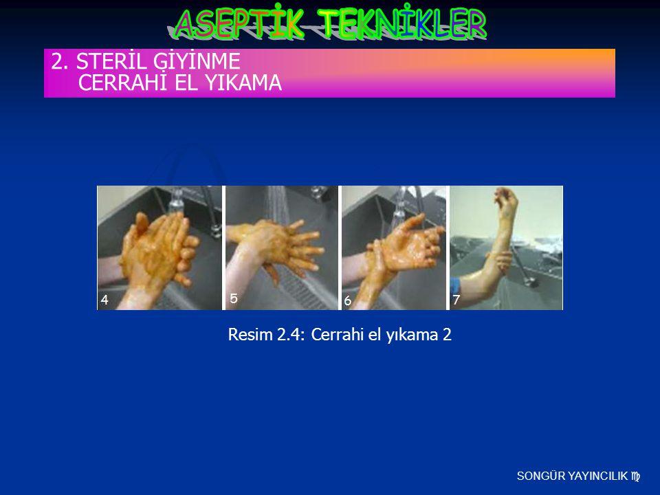 SONGÜR YAYINCILIK  Resim 2.4: Cerrahi el yıkama 2 2. STERİL GİYİNME CERRAHİ EL YIKAMA