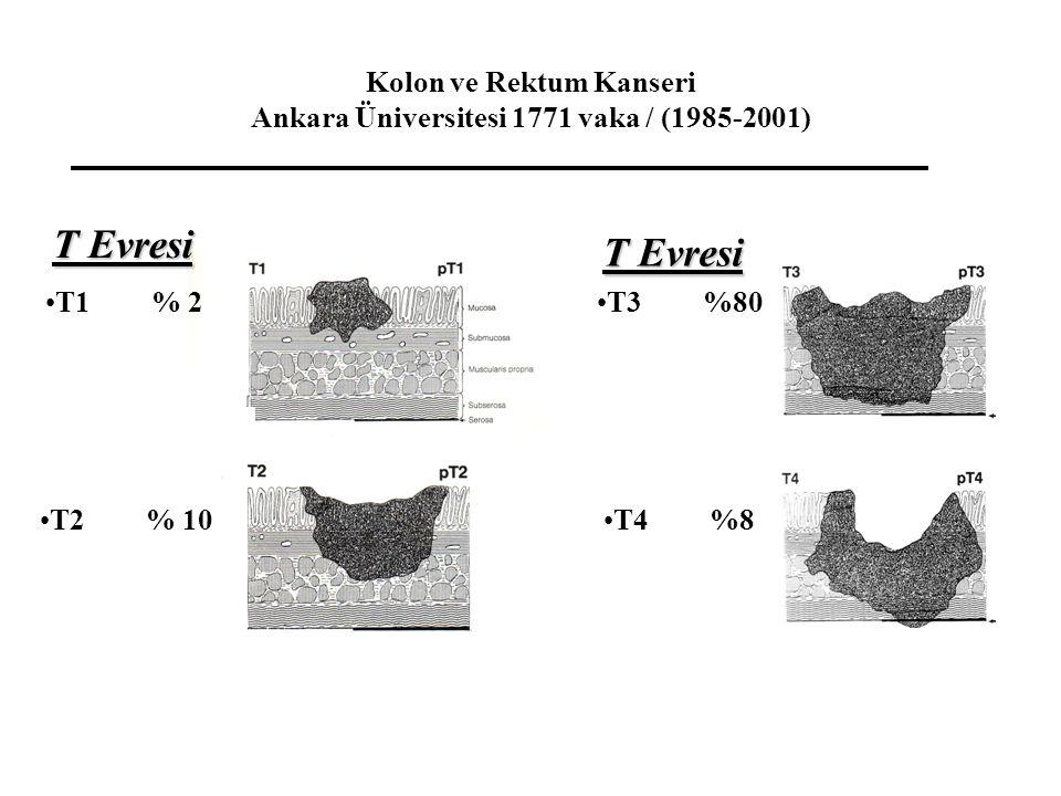 Kolon ve Rektum Kanseri Ankara Üniversitesi 1771 vaka / (1985-2001) T1% 2 T2% 10 T3%80 T4%8 T Evresi