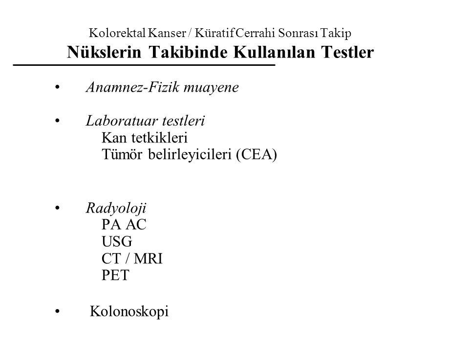 Kolorektal Kanser / Küratif Cerrahi Sonrası Takip Nükslerin Takibinde Kullanılan Testler Anamnez-Fizik muayene Laboratuar testleri Kan tetkikleri Tümö