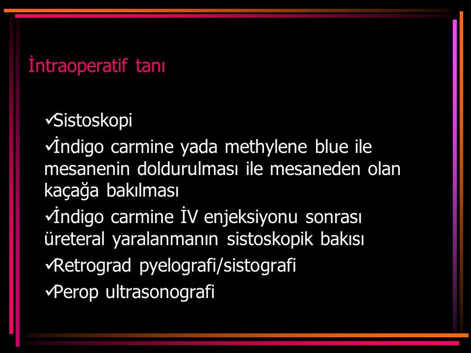 İntraoperatif tanı Sistoskopi İndigo carmine yada methylene blue ile mesanenin doldurulması ile mesaneden olan kaçağa bakılması İndigo carmine İV enjeksiyonu sonrası üreteral yaralanmanın sistoskopik bakısı Retrograd pyelografi/sistografi Perop ultrasonografi