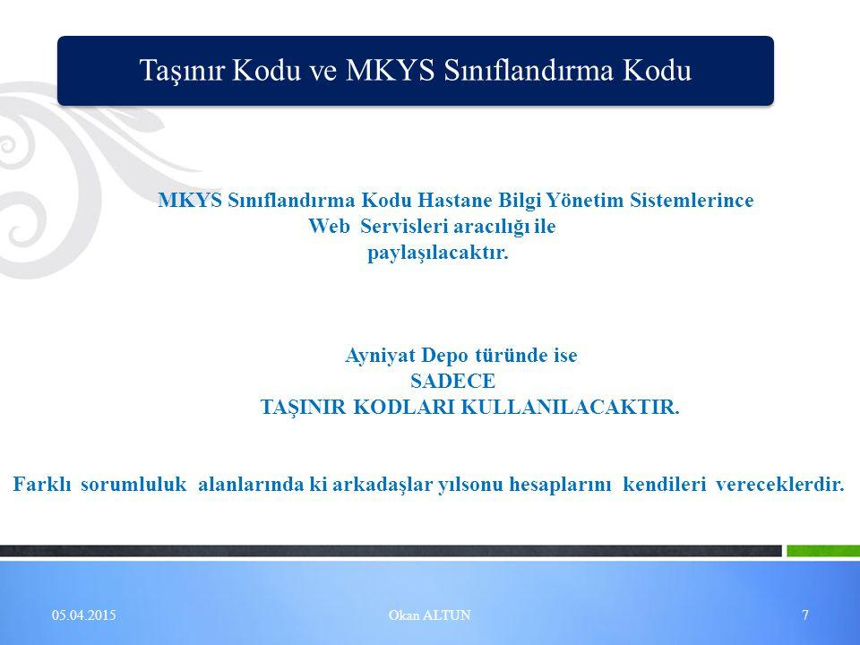 MKYS Sınıflandırma Kodu Hastane Bilgi Yönetim Sistemlerince Web Servisleri aracılığı ile paylaşılacaktır. Ayniyat Depo türünde ise SADECE TAŞINIR KODL
