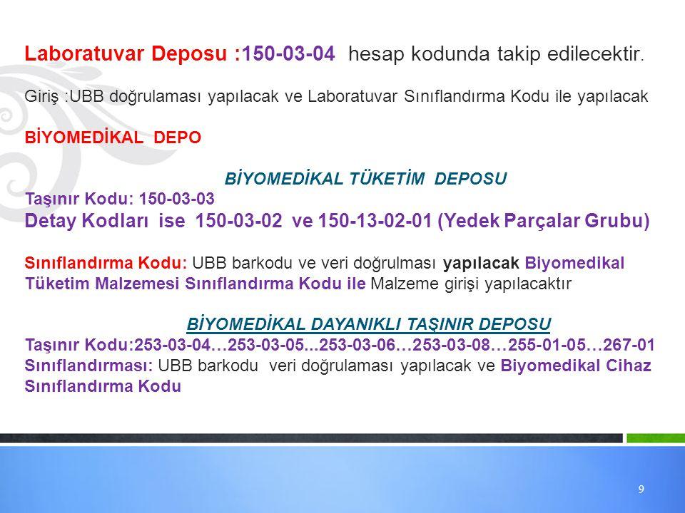 9 Laboratuvar Deposu :150-03-04 hesap kodunda takip edilecektir. Giriş :UBB doğrulaması yapılacak ve Laboratuvar Sınıflandırma Kodu ile yapılacak BİYO