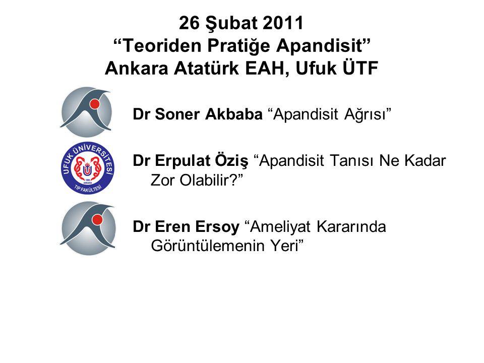 """26 Şubat 2011 """"Teoriden Pratiğe Apandisit"""" Ankara Atatürk EAH, Ufuk ÜTF Dr Soner Akbaba """"Apandisit Ağrısı"""" Dr Erpulat Öziş """"Apandisit Tanısı Ne Kadar"""