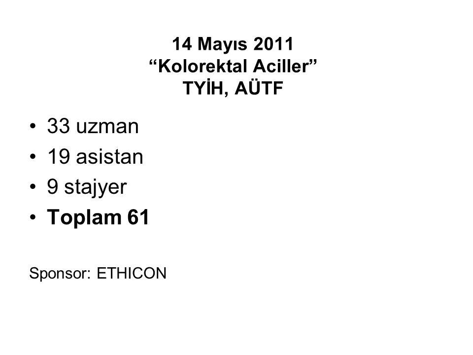 """14 Mayıs 2011 """"Kolorektal Aciller"""" TYİH, AÜTF 33 uzman 19 asistan 9 stajyer Toplam 61 Sponsor: ETHICON"""