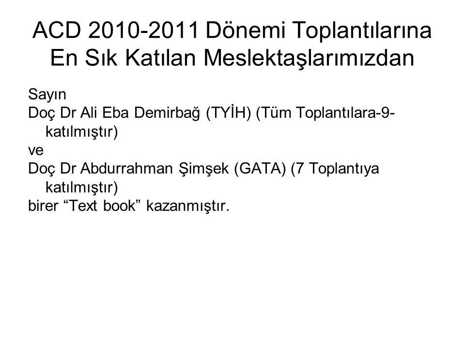 ACD 2010-2011 Dönemi Toplantılarına En Sık Katılan Meslektaşlarımızdan Sayın Doç Dr Ali Eba Demirbağ (TYİH) (Tüm Toplantılara-9- katılmıştır) ve Doç D