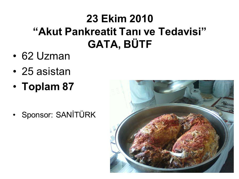 """23 Ekim 2010 """"Akut Pankreatit Tanı ve Tedavisi"""" GATA, BÜTF 62 Uzman 25 asistan Toplam 87 Sponsor: SANİTÜRK"""