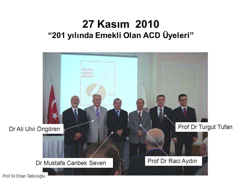 """27 Kasım 2010 """"201 yılında Emekli Olan ACD Üyeleri"""" Dr Ali Ulvi Öngören Prof Dr Raci Aydın Prof Dr Turgut Tufan Dr Mustafa Canbek Seven Prof Dr Ertan"""