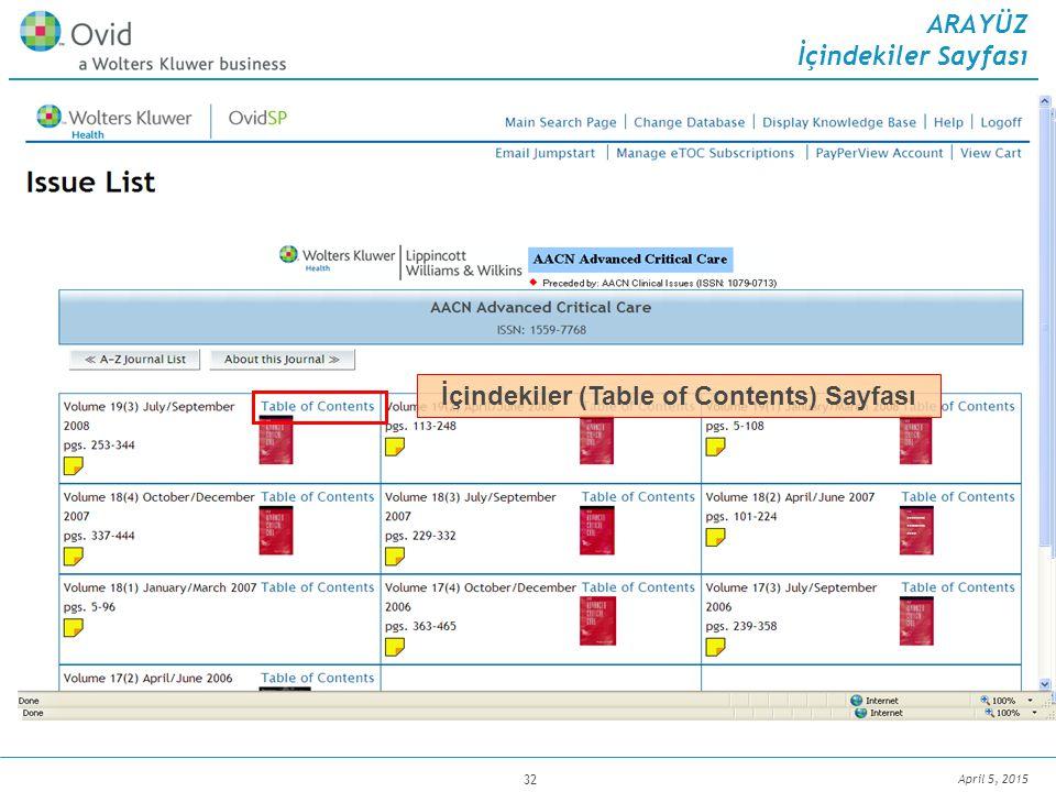 April 5, 2015 32 Dergi kapağı resmi, cilt, sayı bilgisi ve sayfa sayısı İçindekiler (Table of Contents) Sayfası ARAYÜZ İçindekiler Sayfası
