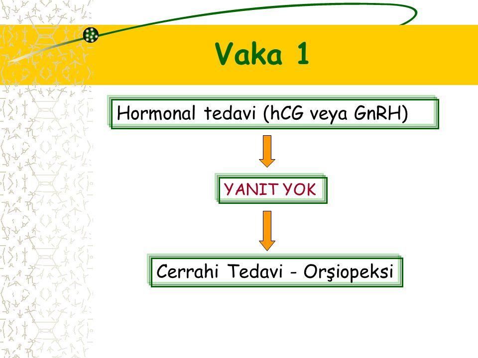 Vaka 1 Hormonal tedavi (hCG veya GnRH) YANIT YOK Cerrahi Tedavi - Orşiopeksi