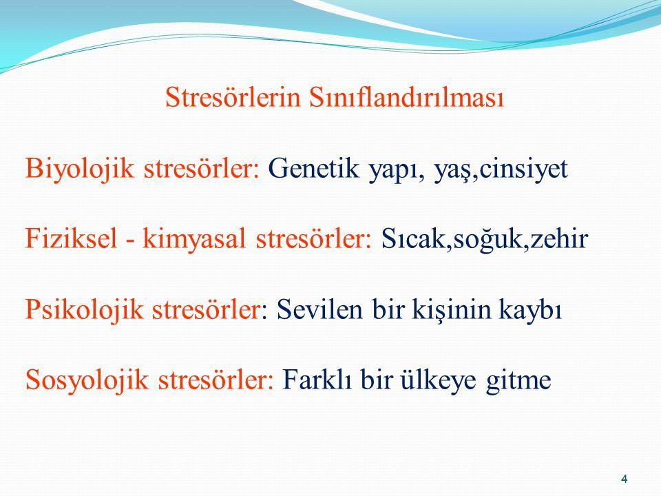 4 Stresörlerin Sınıflandırılması Biyolojik stresörler: Genetik yapı, yaş,cinsiyet Fiziksel - kimyasal stresörler: Sıcak,soğuk,zehir Psikolojik stresör