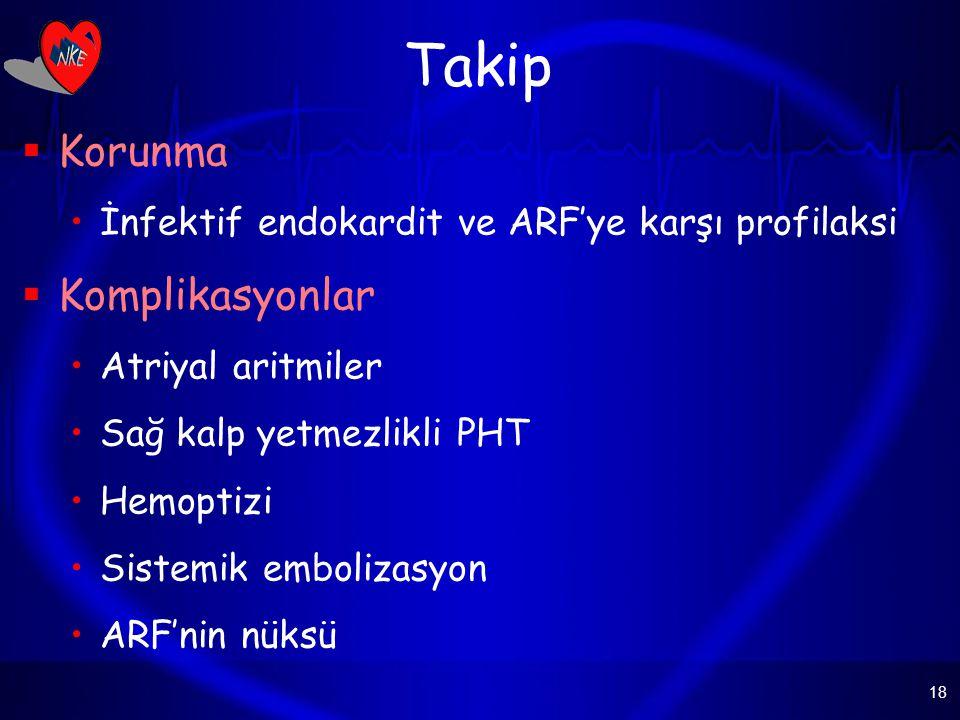 18 Takip  Korunma İnfektif endokardit ve ARF'ye karşı profilaksi  Komplikasyonlar Atriyal aritmiler Sağ kalp yetmezlikli PHT Hemoptizi Sistemik embolizasyon ARF'nin nüksü