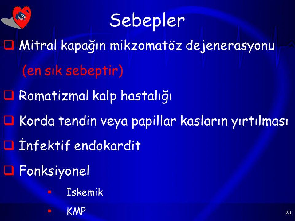 23 Sebepler  Mitral kapağın mikzomatöz dejenerasyonu (en sık sebeptir)  Romatizmal kalp hastalığı  Korda tendin veya papillar kasların yırtılması  İnfektif endokardit  Fonksiyonel  İskemik  KMP