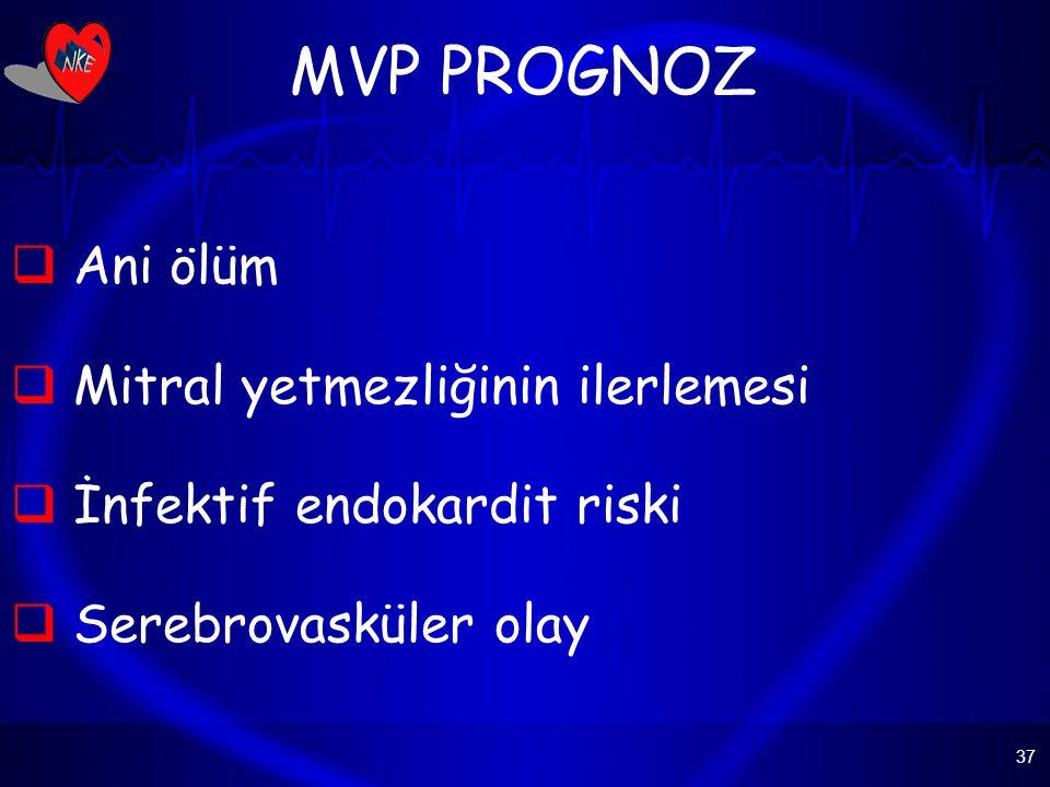 37 MVP PROGNOZ  Ani ölüm  Mitral yetmezliğinin ilerlemesi  İnfektif endokardit riski  Serebrovasküler olay