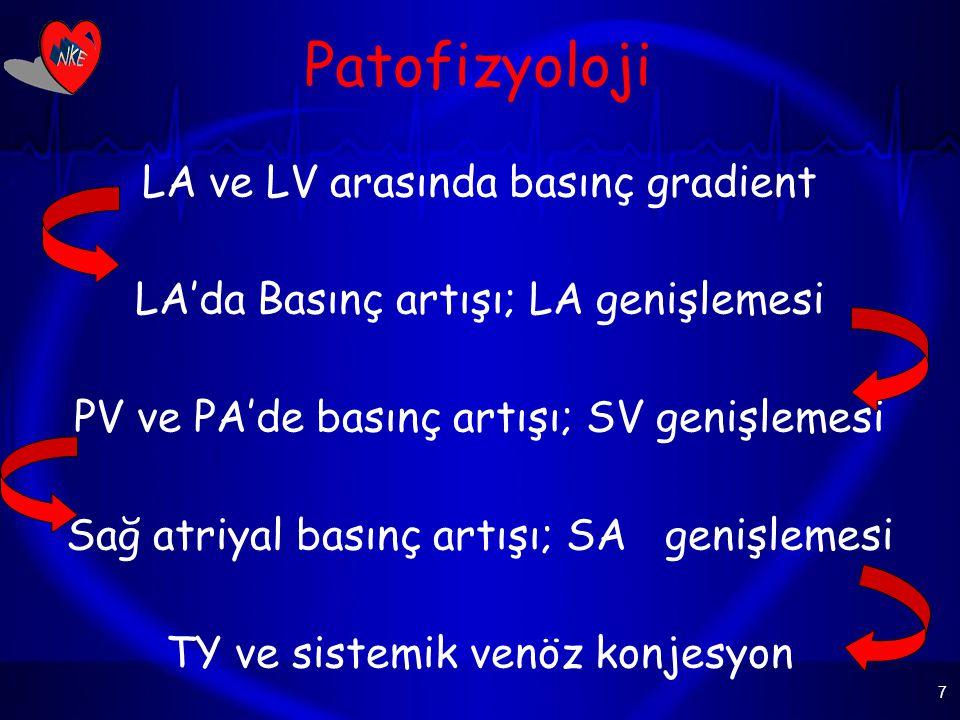 7 Patofizyoloji LA ve LV arasında basınç gradient LA'da Basınç artışı; LA genişlemesi PV ve PA'de basınç artışı; SV genişlemesi Sağ atriyal basınç artışı; SA genişlemesi TY ve sistemik venöz konjesyon