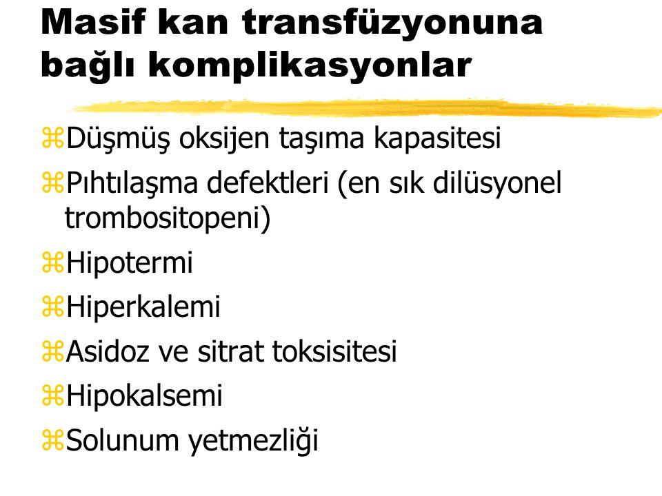 Masif kan transfüzyonuna bağlı komplikasyonlar zDüşmüş oksijen taşıma kapasitesi zPıhtılaşma defektleri (en sık dilüsyonel trombositopeni) zHipotermi