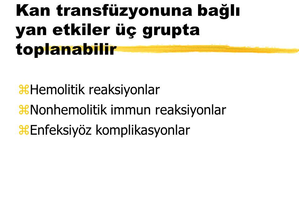 Kan transfüzyonuna bağlı yan etkiler üç grupta toplanabilir zHemolitik reaksiyonlar zNonhemolitik immun reaksiyonlar zEnfeksiyöz komplikasyonlar