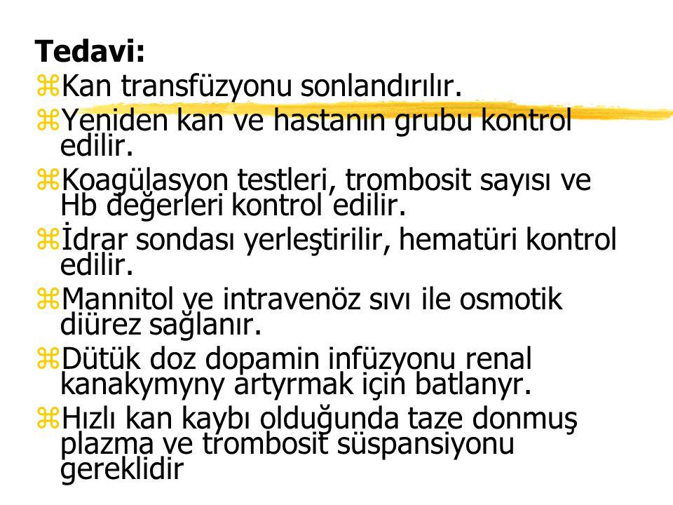 Tedavi: zKan transfüzyonu sonlandırılır. zYeniden kan ve hastanın grubu kontrol edilir. zKoagülasyon testleri, trombosit sayısı ve Hb değerleri kontro