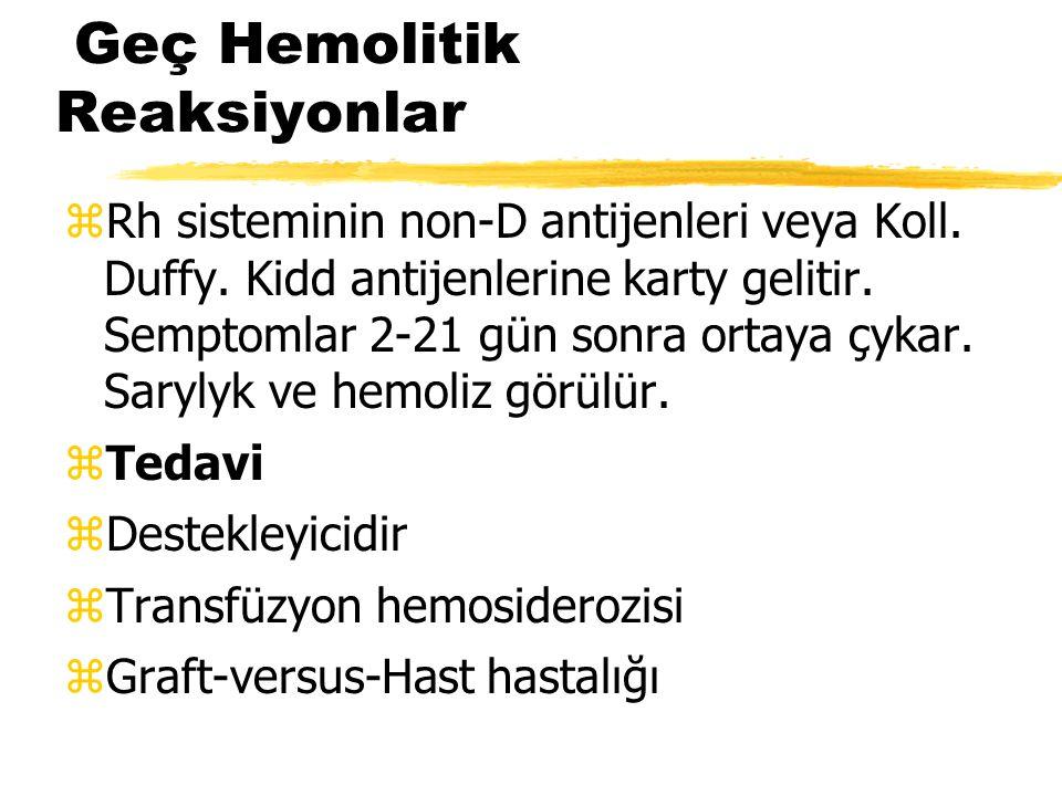 Geç Hemolitik Reaksiyonlar zRh sisteminin non-D antijenleri veya Koll. Duffy. Kidd antijenlerine karty gelitir. Semptomlar 2-21 gün sonra ortaya çykar