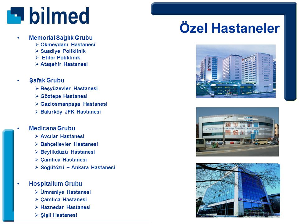 Memorial Sağlık Grubu  Okmeydanı Hastanesi  Suadiye Poliklinik  Etiler Poliklinik  Ataşehir Hastanesi Şafak Grubu  Beşyüzevler Hastanesi  Göztepe Hastanesi  Gaziosmanpaşa Hastanesi  Bakırköy JFK Hastanesi Medicana Grubu  Avcılar Hastanesi  Bahçelievler Hastanesi  Beylikdüzü Hastanesi  Çamlıca Hastanesi  Söğütözü – Ankara Hastanesi Hospitalium Grubu  Ümraniye Hastanesi  Çamlıca Hastanesi  Haznedar Hastanesi  Şişli Hastanesi Özel Hastaneler