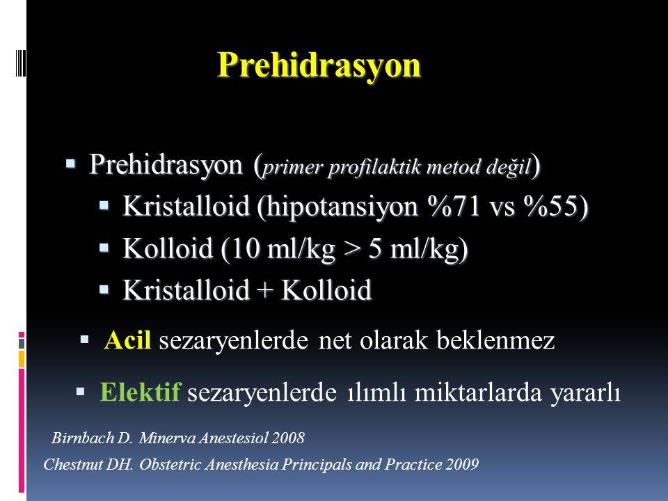 Prehidrasyon  Prehidrasyon ( primer profilaktik metod değil )  Kristalloid (hipotansiyon %71 vs %55)  Kolloid (10 ml/kg > 5 ml/kg)  Kristalloid +