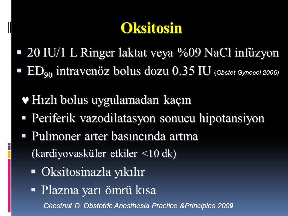 Oksitosin  20 IU/1 L Ringer laktat veya %09 NaCl infüzyon  ED 90 intravenöz bolus dozu 0.35 IU (  ED 90 intravenöz bolus dozu 0.35 IU ( Obstet Gyne