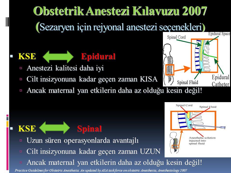 Obstetrik Anestezi Kılavuzu 2007 ( Sezaryen için rejyonal anestezi seçenekleri)  KSE Epidural  Anestezi kalitesi daha iyi  Cilt insizyonuna kadar g