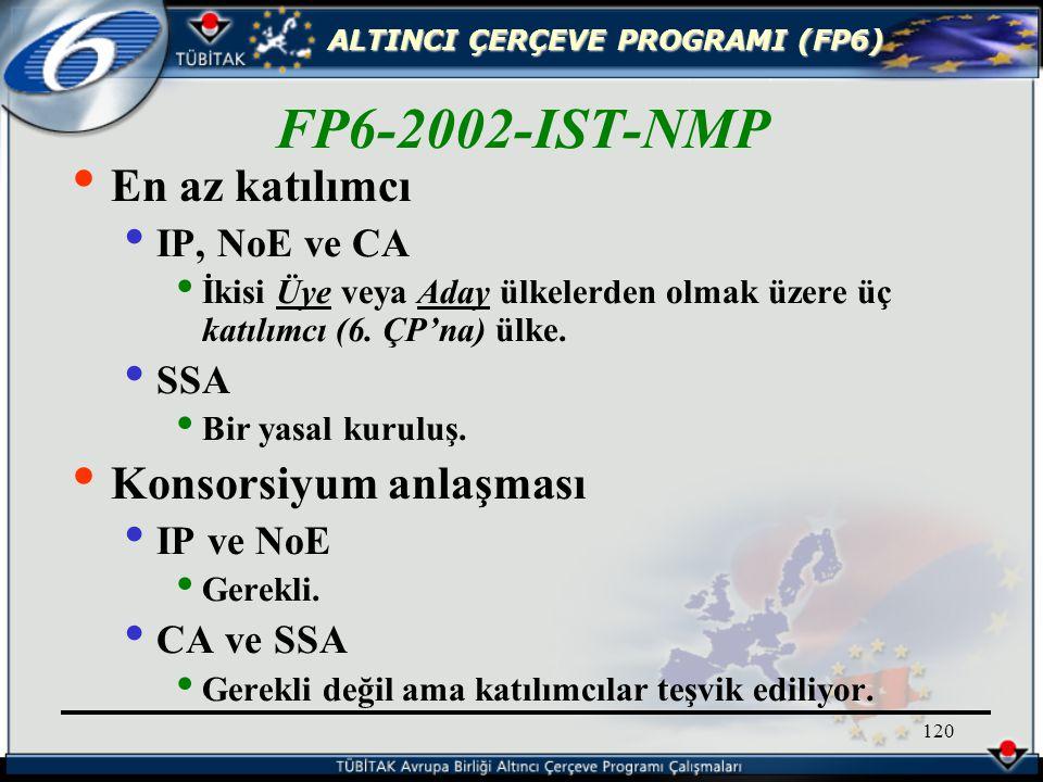 ALTINCI ÇERÇEVE PROGRAMI (FP6) 120 En az katılımcı IP, NoE ve CA İkisi Üye veya Aday ülkelerden olmak üzere üç katılımcı (6.