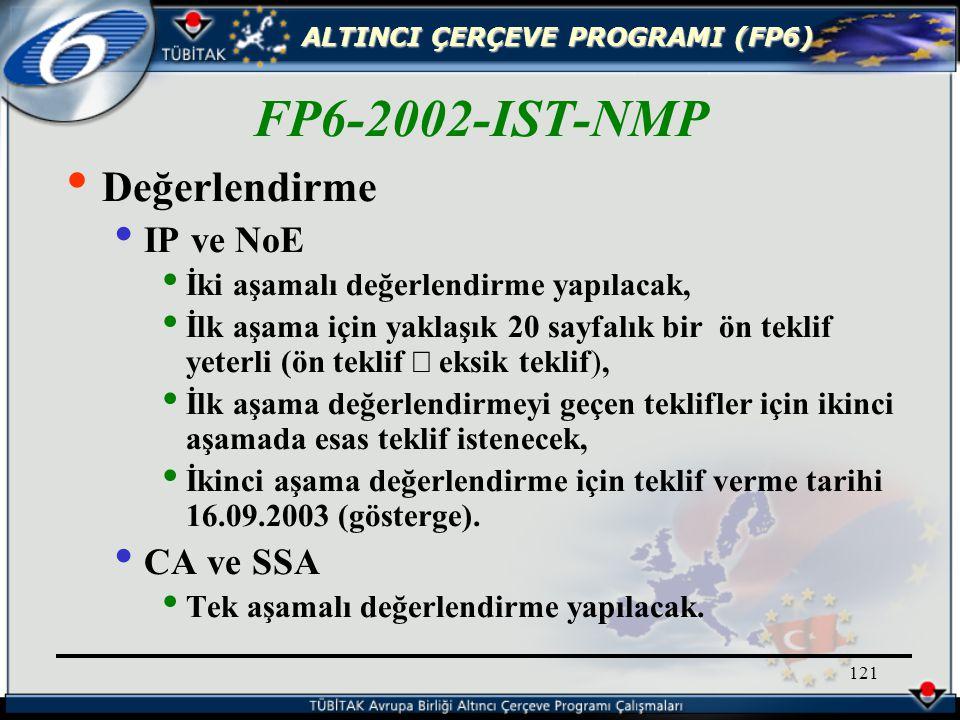ALTINCI ÇERÇEVE PROGRAMI (FP6) 121 Değerlendirme IP ve NoE İki aşamalı değerlendirme yapılacak, İlk aşama için yaklaşık 20 sayfalık bir ön teklif yeterli (ön teklif  eksik teklif), İlk aşama değerlendirmeyi geçen teklifler için ikinci aşamada esas teklif istenecek, İkinci aşama değerlendirme için teklif verme tarihi 16.09.2003 (gösterge).