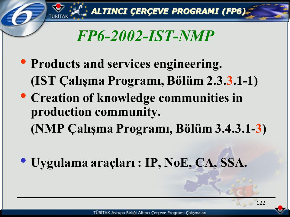 ALTINCI ÇERÇEVE PROGRAMI (FP6) 122 Products and services engineering.