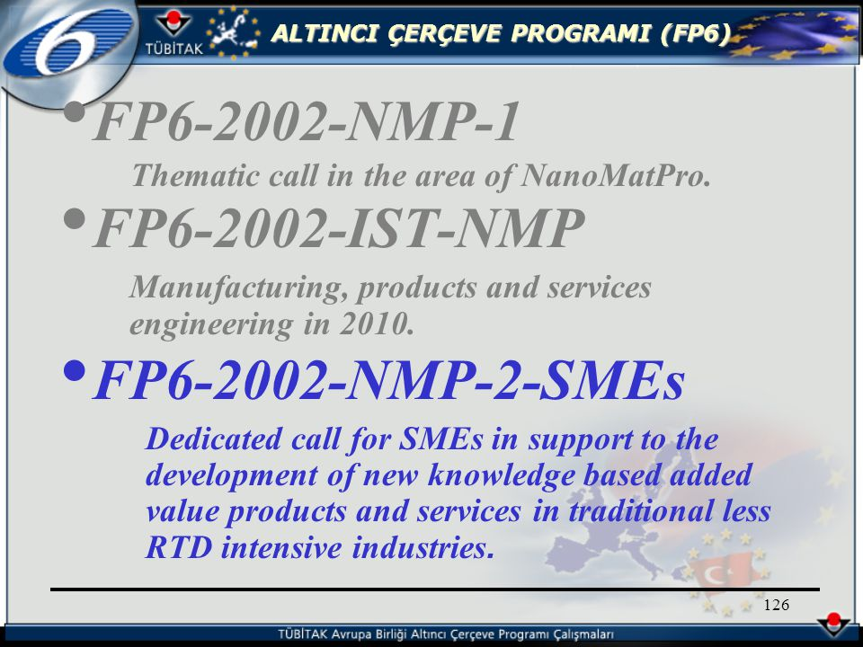 ALTINCI ÇERÇEVE PROGRAMI (FP6) 126 FP6-2002-NMP-1 Thematic call in the area of NanoMatPro.
