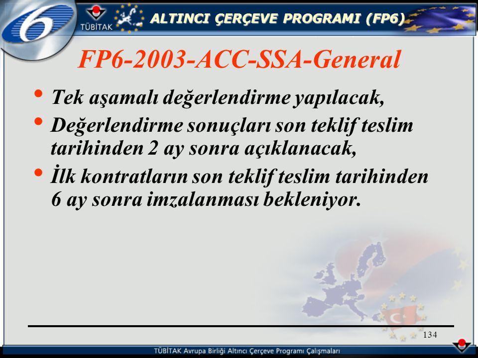 ALTINCI ÇERÇEVE PROGRAMI (FP6) 134 Tek aşamalı değerlendirme yapılacak, Değerlendirme sonuçları son teklif teslim tarihinden 2 ay sonra açıklanacak, İlk kontratların son teklif teslim tarihinden 6 ay sonra imzalanması bekleniyor.