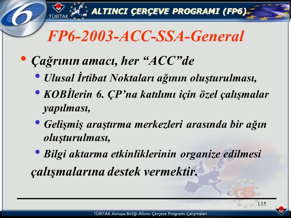 ALTINCI ÇERÇEVE PROGRAMI (FP6) 135 Çağrının amacı, her ACC de Ulusal İrtibat Noktaları ağının oluşturulması, KOBİlerin 6.
