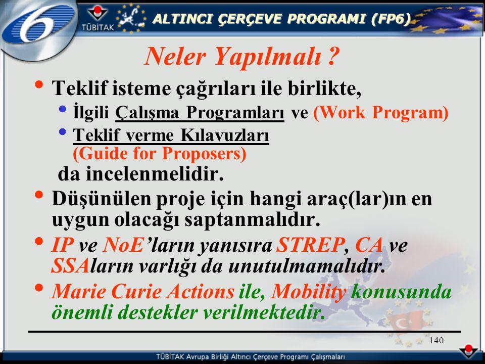 ALTINCI ÇERÇEVE PROGRAMI (FP6) 140 Teklif isteme çağrıları ile birlikte, İlgili Çalışma Programları ve (Work Program) Teklif verme Kılavuzları (Guide for Proposers) da incelenmelidir.